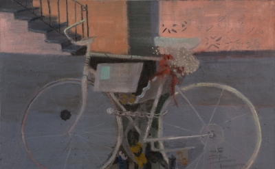 Elisa Jensen, Ghostbike, 2014, oil on linen, 36 x 48 inches (courtesy of the art