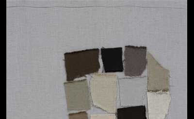 Sergej Jensen, Palette Head, 2005, canvas on canvas, 23 1/2 x 17 3/4 inches (cou