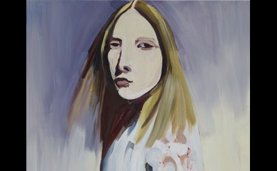 Chantal Joffe, Blonde in a Lace Coat, 2012, Oil on board, 72 1/8 x 47 7/8 inches