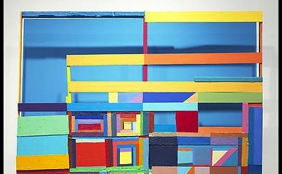Chris Johanson, Window Painting #2, 2012, acrylic and latex paint on found wood,