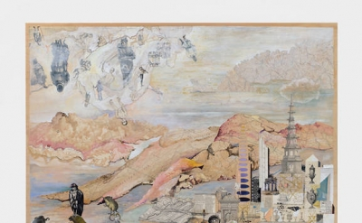Josh Dorman, New World Over, 2011, Ink, Acrylic and Antique Maps on Canvas, 34 x
