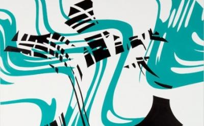 Shirley Kaneda, Plumb Askew, 2011, oil and acrylic on linen, 72 x 63 inches (cou