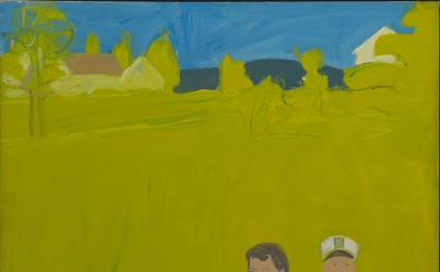 Alex Katz, Slab City Road, 1959, oil on linen, 61 1/2 x 49 inches (Collection of