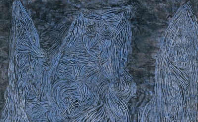 Paul Klee, Walpurgis Night, 1935, gouache on cloth laid on wood, 508 × 470 mm (T