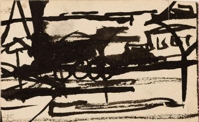 Franz Kline, Untitled-Locomotive, ca. 1945–47, ink, double sided, on 2-ply illus