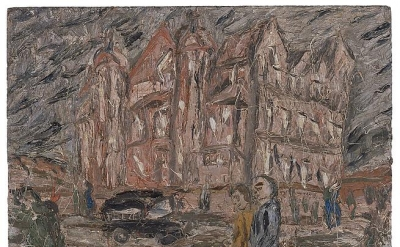 Leon Kossoff, Red Brick School Building, Winter, 1982, oil on board, 48 x 60 inc