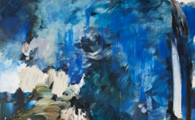 Annie Lapin, Air Pour Scape, 2013, oil on canvas, 57 by 44 inches (collection of