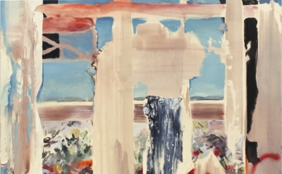 Annie Lapin, Various Peep Shows (Through), 2013, oil and acrylic enamel spray-pa