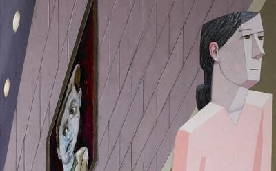 Mernet Larsen, Alphie, 2015, acrylic and mixed media on canvas, 71 1/8×39 1/2