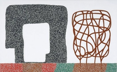 Jonathan Lasker, Scenic Remembrance, 2007, oil on linen, 90 x 120 inches (courte