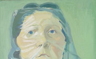 Maria Lassnig, Selbstporträt unter Plastik, 1972, oil on canvas (collection de B