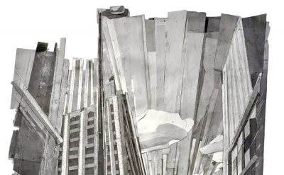 Mark Lewis, Boston Avenue Looking South, graphite and paper collage, 75 x 50 inc
