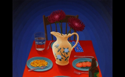 Amy Lincoln, Dinner Table, 2012, acrylic on mdf, 24.5 x 19.75 inches (courtesy o