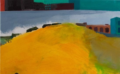 Rebecca Litt, One Side of Yellow Hill, 2012, 18 x 20 inches, oil on canvas (cour