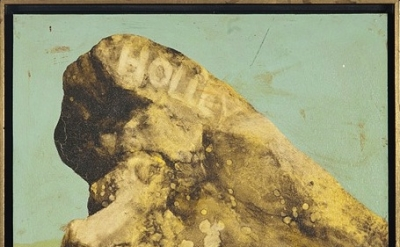 Llyn Foulkes, Untitled (Holley Rock), 1963, oil on board, 13 x 16 inches (courte