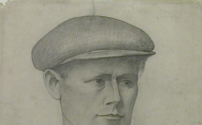 LS Lowry, Head of a Young Man in a Cap (The LS Lowry Collection, Manchester)
