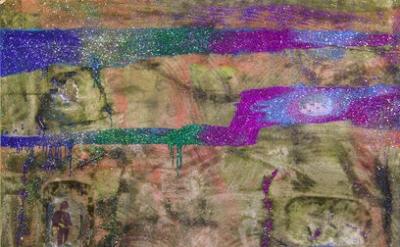 Chris Martin, Dream Buffalo, 2014, acrylic, gel medium, glitter, collage on canv