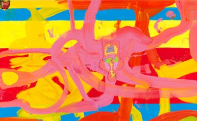 Chris Martin, Untitled, 2014, oil, acrylic and collage on canvas, 90 x 75 inches