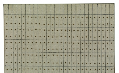 Agnes Martin, Little Sister, 1962, oil, ink, and brass, nails on canvas and wood sheet, 25.1 x 24.2 cm (Solomon R. Guggenheim Museum, New York, Gift, Andrew Powie Fuller and Geraldine Spreckels Fuller Collection 2000.40. © 2016 Agnes Martin/Artists Rights