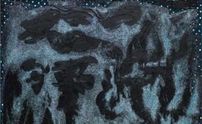 Chris Martin, Moonlight Situation, 2013, oil, glitter, gel medium, and fabric on