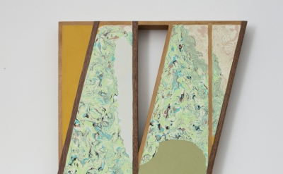 Christian Maychack, Righted (CF29) 2012 epoxy clay, pigment and wood 24 x 17.75