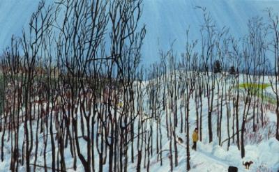 Sarah McEneaney, Wissahickon, 2000, egg tempera on gessoed wood, 24 x 24 inches