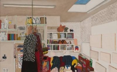 Sarah McEneaney, Studio Living, 2014, acrylic on gessoed linen, 48 x 36 inches (
