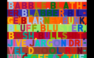 Mel Bochner, Babble, 2011, oil and acrylic on two canvases, 100 x 85 inches, (Co