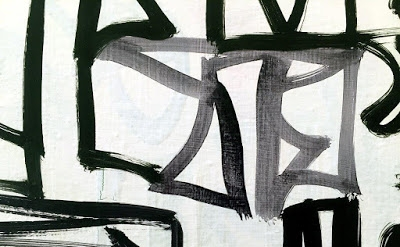 (detail) Melissa Meyer, Character Set, 2015, 30 x 80 inches, diptych, oil on can