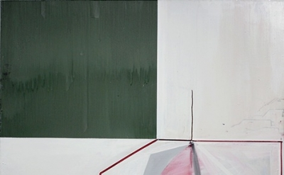 Gordon Moore, Untitled (with Green), 2013, oil, pumice and latex on canvas, 78 x