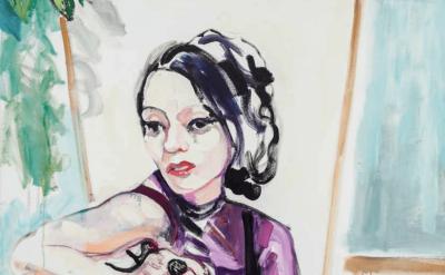 Heather Morgan, Sittin Smokin Thinkin, oil on canvas, 64 x 56 inches, 2017 (courtesy of the artist and David & Schweitzer Contemporary)