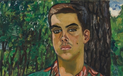 Alice Neel, Richard with Dog, 1954, oil on canvas, 32 1/4 x 22 1/4 inches (court
