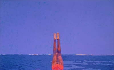 Graham Nickson, Upside-down Bather, 1979-82, acrylic on canvas, 125 x 126 inches