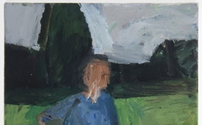 Janice Nowinski, Man in Field, 12 x 9 inches, oil on canvas, 2012 (courtesy of t