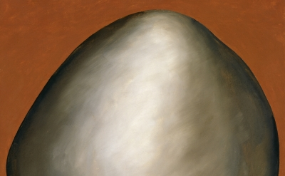 Georgia O'Keeffe, Black Rock on Red, 1971, oil on canvas, 30 x 26 inches (Gift o