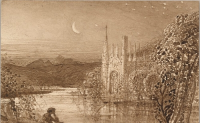 Samuel Palmer, The Haunted Stream, c. 1826, Brush and brown ink and brown ink wa