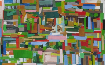 Hearne Pardee, Houses, acrylic collage, 50 x 38 inches, 2016 (courtesy of the ar