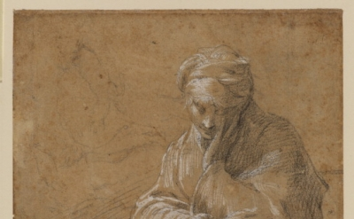 Parmigianino, (1503–40) Woman Seated on the Ground, c. 1523–24, Black chalk and