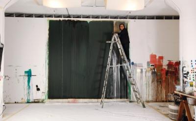Pat Steir in her studio, ©2012 Rebecca Robertson
