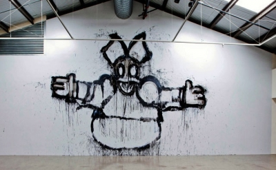 Joyce Pensato, Welcome to My Party, 2013, enamel wall painting at the Santa Moni
