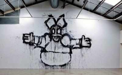 Joyce Pensato, Welcome to My Party, 2013, enamel wall painting at the Santa Moni