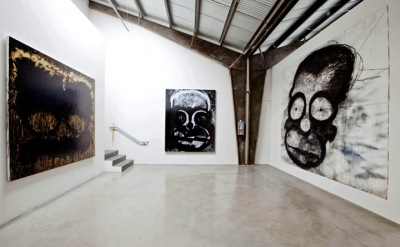Installation view of the exhibition Joyce Pensato: I Killed Kenny at the Santa M