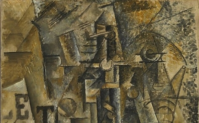 Pablo Picasso, Still Life with a Bottle of Rum, 1911, oil on canvas, 24 1/8 x 19