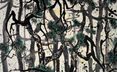 Wu Guanzhong, Pines, 1995, Ink and color on rice paper, 140 X 179 cm (courtesy