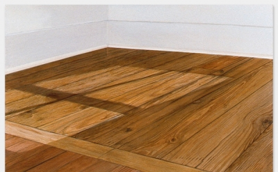 Sylva Plimack-Mangold, Floor with Light at 10:30 am, 1972, acrylic on canvas, 52