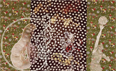 Sigmar Polke, Alice in Wonderland, 1971, mixed media on patterned fabric, 118 x