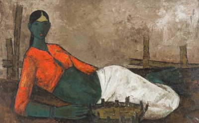 B. Prabha, (1933–2001) Fisherwoman, 1960, Oil on canvas (collection of Shelley a