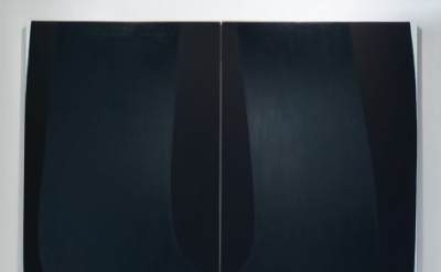 Nathlie Provosty, Doubleu (Dark), 2013, oil on linen in two parts, 84 x 92 inche