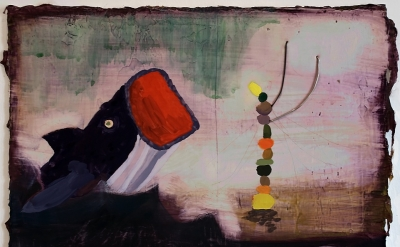 Jennifer Wynne Reeves, Jonah, 2012, medium: gouache, pencil, wire on hard moldin