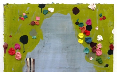 Jennifer Wynne Reeves, Untitled, 2013, acrylic and collage on birch hardwood pan